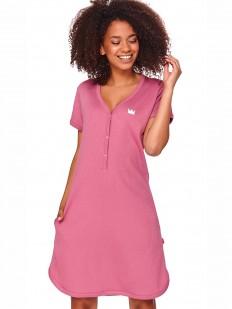 Розовая хлопковая сорочка на пуговицах с коротким рукавом