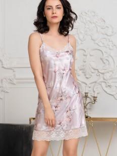 Шелковая ночная сорочка с цветочным принтом и кружевной отделкой