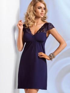 Короткая ночная сорочка из вискозы синяя с кружевным рукавом