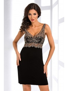Женская ночная сорочка из вискозы черная без рукавов