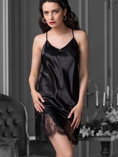Короткая черная атласная сорочка на тонких бретелях с открытой спиной