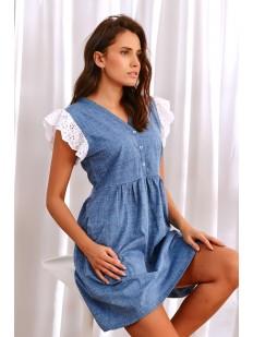 Джинсовая домашняя сорочка с кружевным рукавами