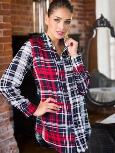 Клетчатая ночная женская рубашка из вискозы с длинным рукавом Mia-Mia Davina