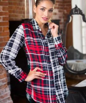 Клетчатая ночная трикотажная рубашка из вискозы с длинным рукавом
