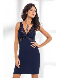 Женская ночная сорочка синяя из вискозы без рукавов