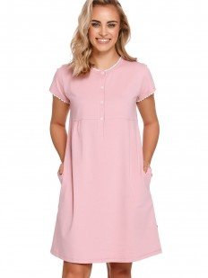Розовая сорочка свободного кроя для беременных и кормящих мам