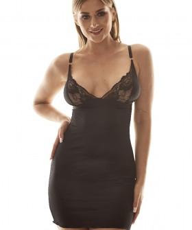 Короткая черная эротическая сорочка с кружевным лифом