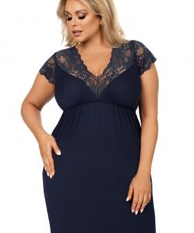 Синяя женская ночная сорочка большого размера из вискозы с кружевом