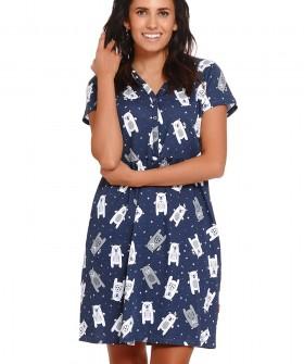 Синяя летняя сорочка с мишками и короткими рукавами
