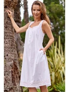 Белая женская летняя сорочка из батиста с карманами