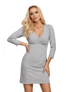 Женская трикотажная сорочка из вискозы серого цвета с длинным рукавом