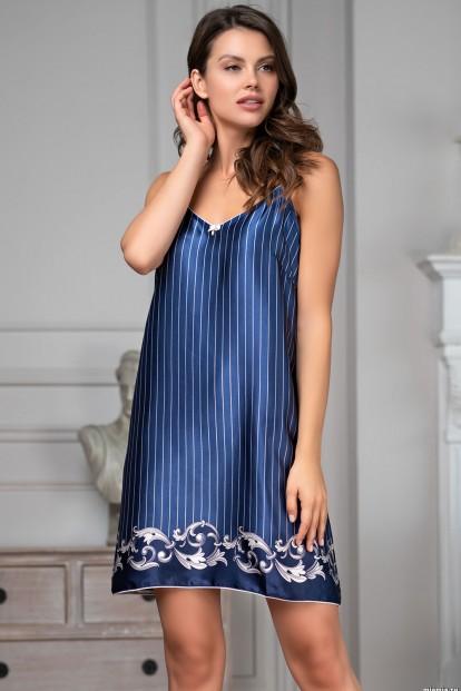 Короткая женская атласная ночная сорочка на тонких бретелях Mia-Amore Barocco 8610