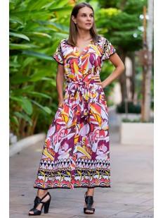 Длинное пляжное платье-рубашка из вискозы с ярким принтом