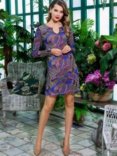 Летнее женское домашнее платье с синим принтом и длинным рукавом