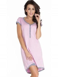 Розовая сорочка в роддом для беременных и кормящих на пуговицах