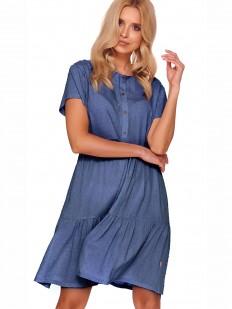Синяя свободная сорочка из вискозы для беременных и кормящих мам