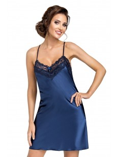 Атласная ночная сорочка женская на бретелях синяя с кружевной отделкой