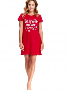 Женская красная ночная сорочка короткая с надписью