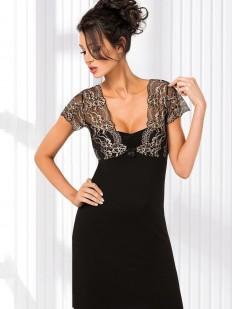 Короткая ночная сорочка из вискозы черная с ажурным лифом