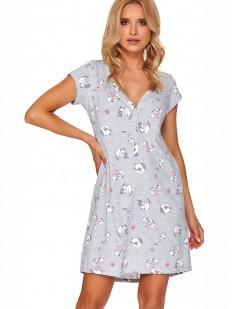 Женская серая сорочка из хлопка с котиками и коротким рукавом