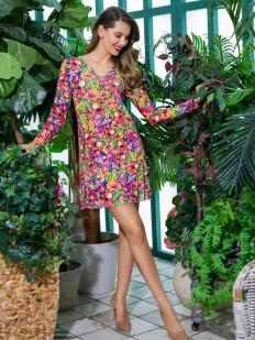 Женское летнее платье для дома с ярким принтом и длинным рукавом