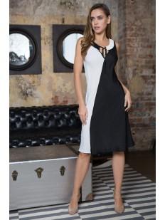 Длинное женское домашнее платье без рукавов черно-белое