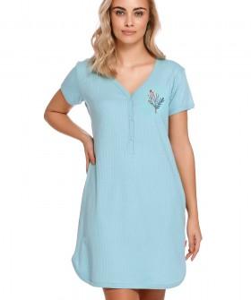 Хлопковая голубая сорочка с планкой на пуговицах
