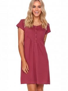 Бордовая ночная сорочка из хлопка с коротким рукавом