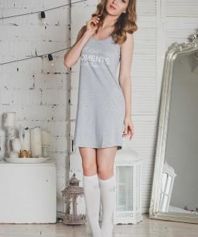 Женская хлопковая ночная сорочка на бретелях