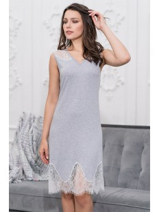 Женская трикотажная ночная сорочка из серой вискозы с кружевом