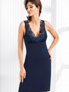 Женская ночная сорочка из вискозы без рукавов синяя