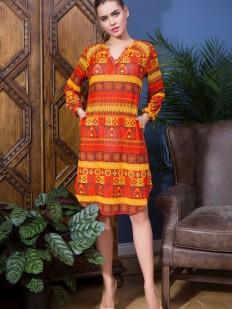 Оранжевое пляжное платье туника с длинным рукавом и карманами