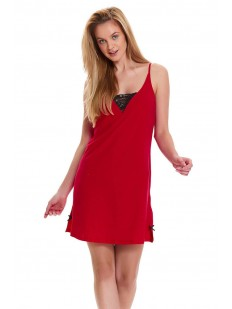 Красная женская ночная сорочка из хлопка на тонких бретелях