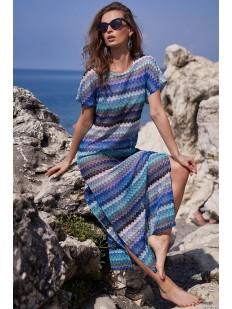 Длинная женская пляжная туника с коротким рукавом и синим принтом