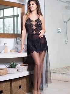 Длинное черное платье сорочка с прозрачным подолом из мягкой сетки