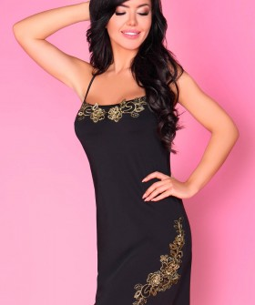 Короткая атласная сорочка черного цвета с золотистой вышивкой