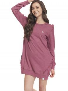 Хлопковая женская сорочка бордовая с длинным рукавом
