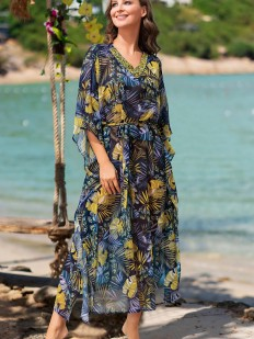 Длинная женская пляжная туника из шифона с ярким принтом