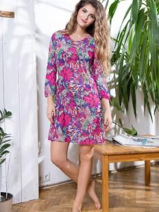 Летнее женское платье с ярким принтом и длинным рукавом