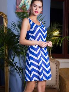 Синее пляжное платье без рукавов с геометрическим принтом в полоску
