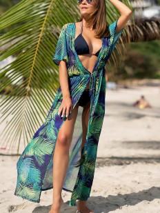 Длинная пляжная изумрудная туника парео на кулиске с растительным принтом