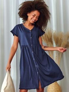 Синяя женская сорочка из хлопка на пуговицах