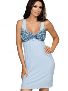 Трикотажная женская ночная сорочка из вискозы на бретелях голубая