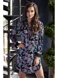 Женская атласная ночная сорочка рубашка с цветочным принтом