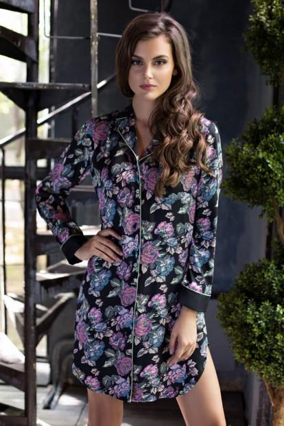 Женская атласная ночная рубашка с цветочным принтом Mia-Mia Sharlotta 17412 - фото 1