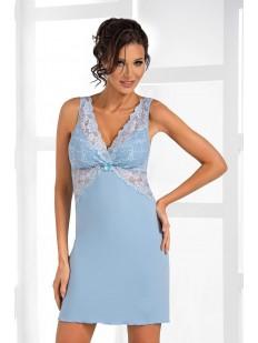 Женская голубая ночная сорочка из вискозы без рукавов