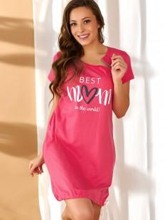 Яркая розовая сорочка для беременных в роддом