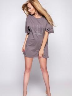 Женская свободная сорочка из хлопка цвета мокко