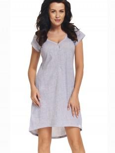 Хлопковая серая женская сорочка свободного кроя с коротким рукавом
