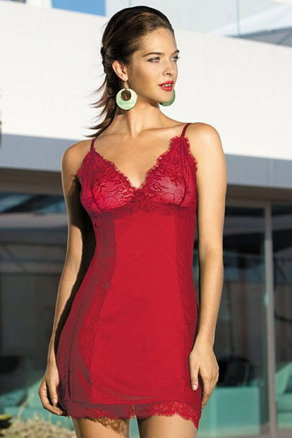 Женская ночная атласная сорочка на бретелях Mia-Mia Lady In Red 12021 - фото 1